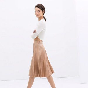 Zara Blush/Nude Pleated Midi Skirt XS